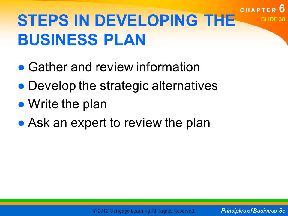 STEPS IN DEVELOPING THE BUSINESS PLAN