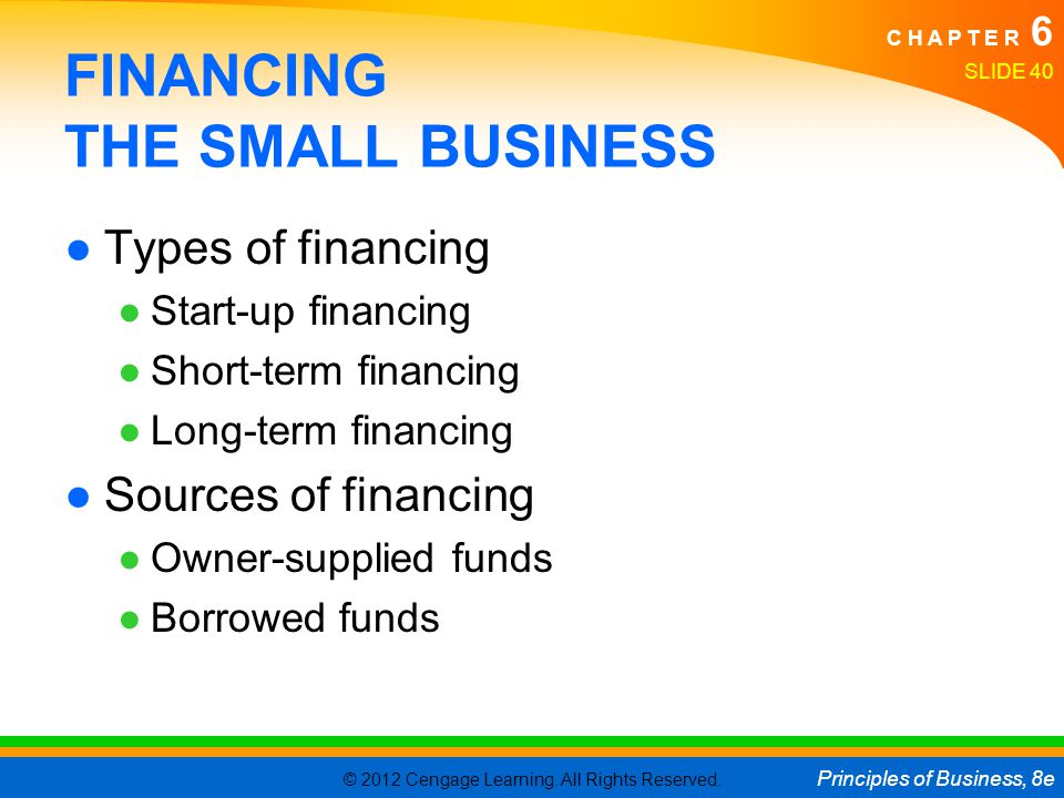FINANCING THE SMALL BUSINESS