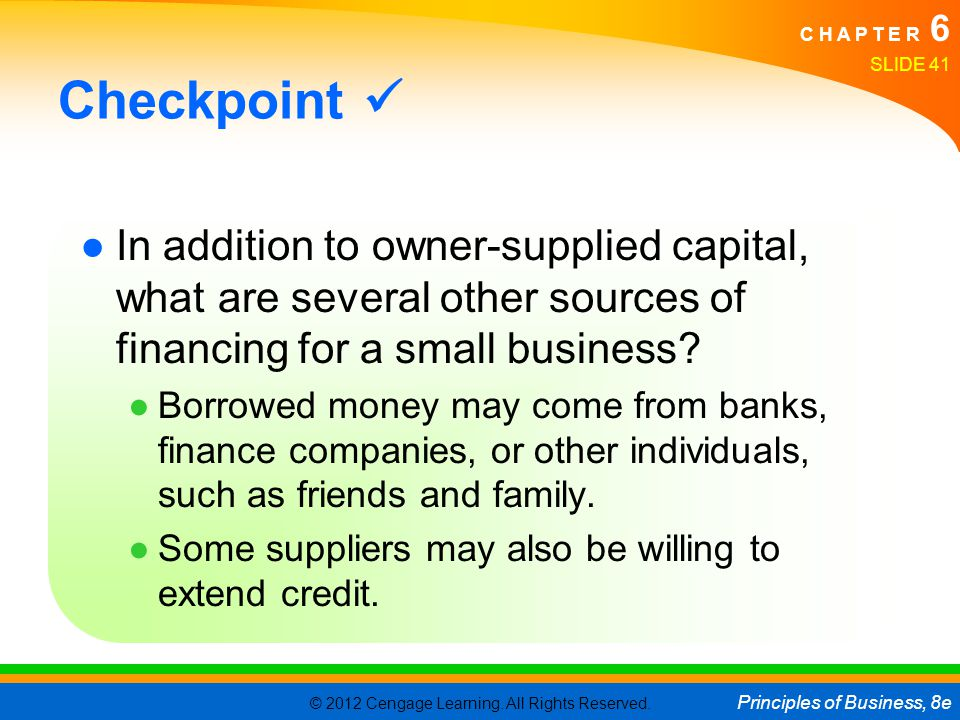 Checkpoint  In addition to owner-supplied capital, what are several other sources of financing for a small business