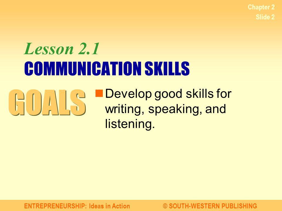 Lesson 2.1 COMMUNICATION SKILLS