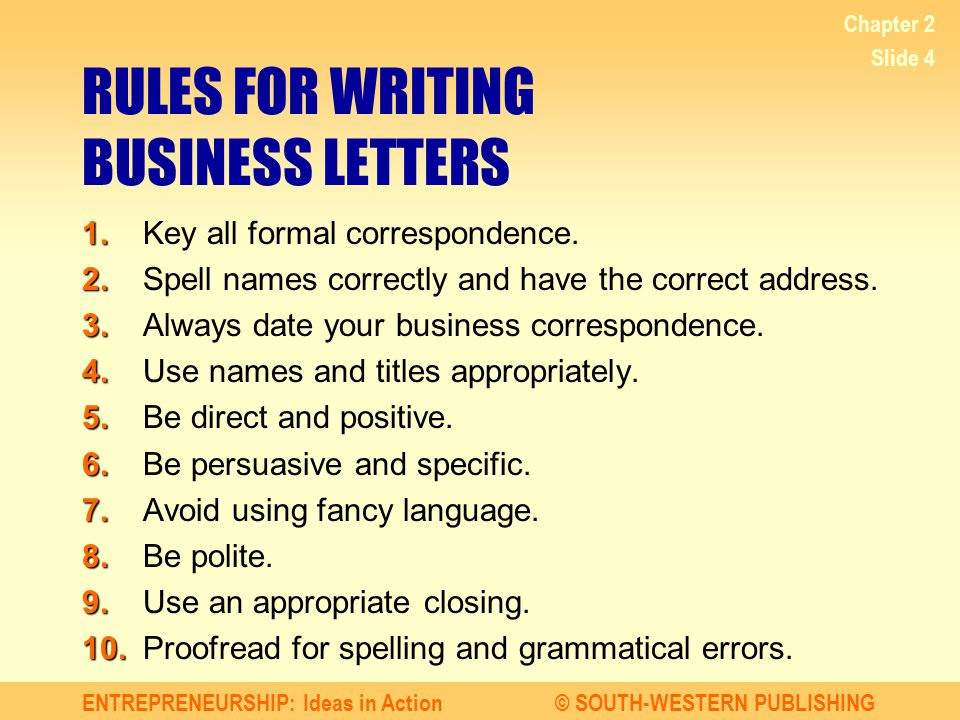 RULES FOR WRITING BUSINESS LETTERS
