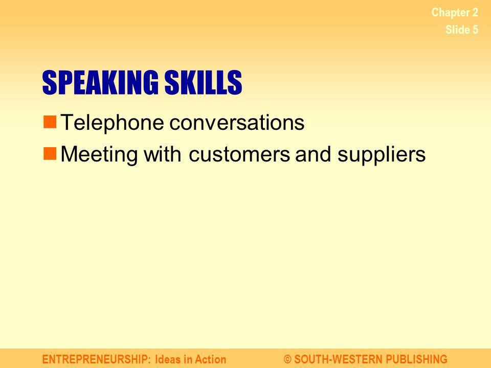 SPEAKING SKILLS Telephone conversations