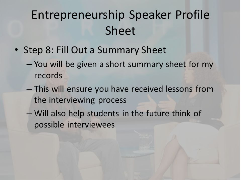 Entrepreneurship Speaker Profile Sheet
