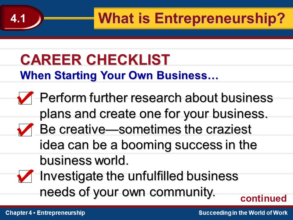 CAREER CHECKLIST When Starting Your Own Businessu2026 Perform Further Research  About Business Plans And Create