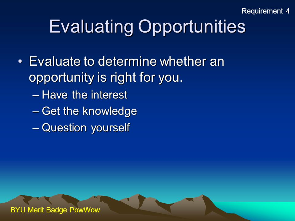 Evaluating Opportunities