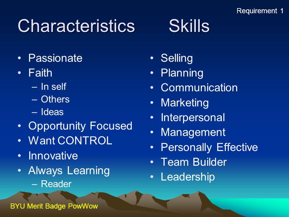 Characteristics Skills