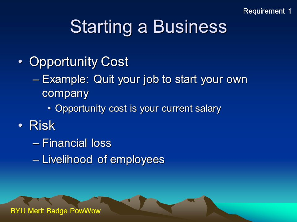 Starting a Business Opportunity Cost Risk