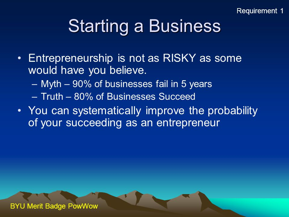Requirement 1 Starting a Business. Entrepreneurship is not as RISKY as some would have you believe.