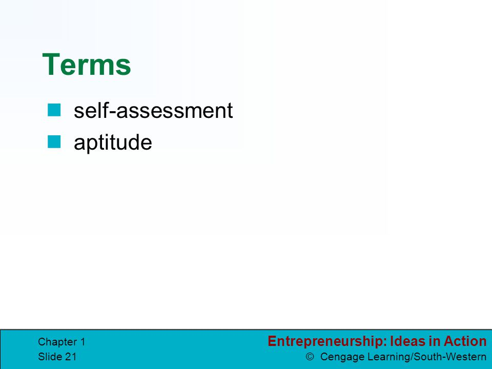 Terms self-assessment aptitude Chapter 1