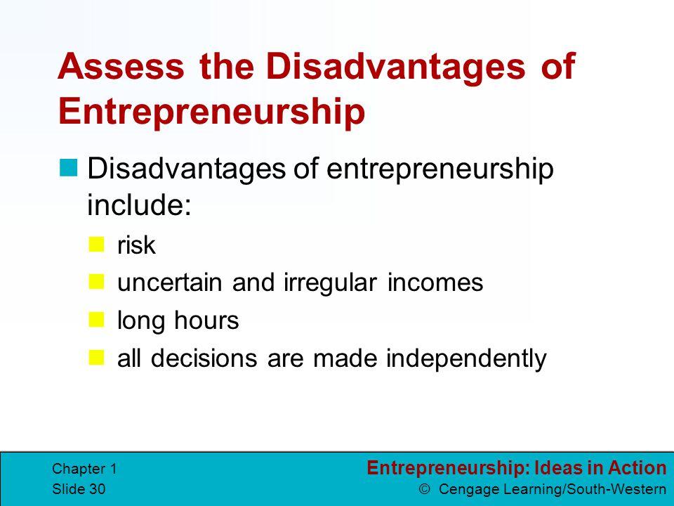 Assess the Disadvantages of Entrepreneurship
