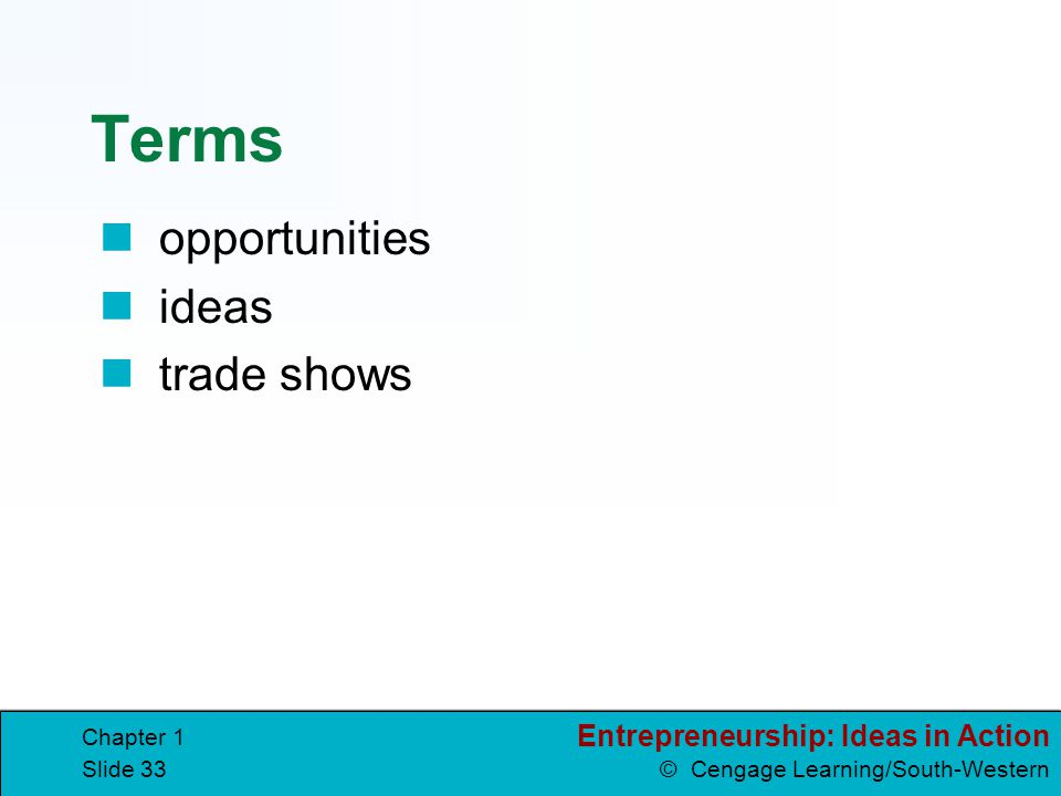 Terms opportunities ideas trade shows Chapter 1
