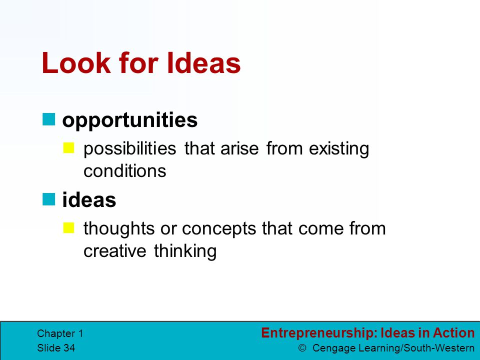 Look for Ideas opportunities ideas