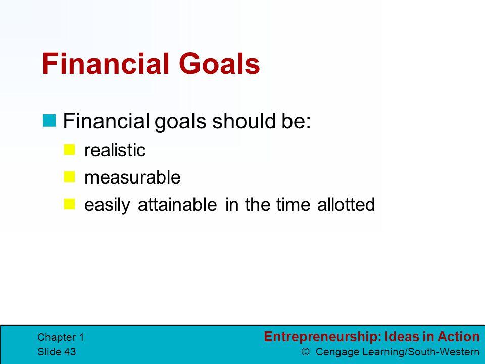 Financial Goals Financial goals should be: realistic measurable