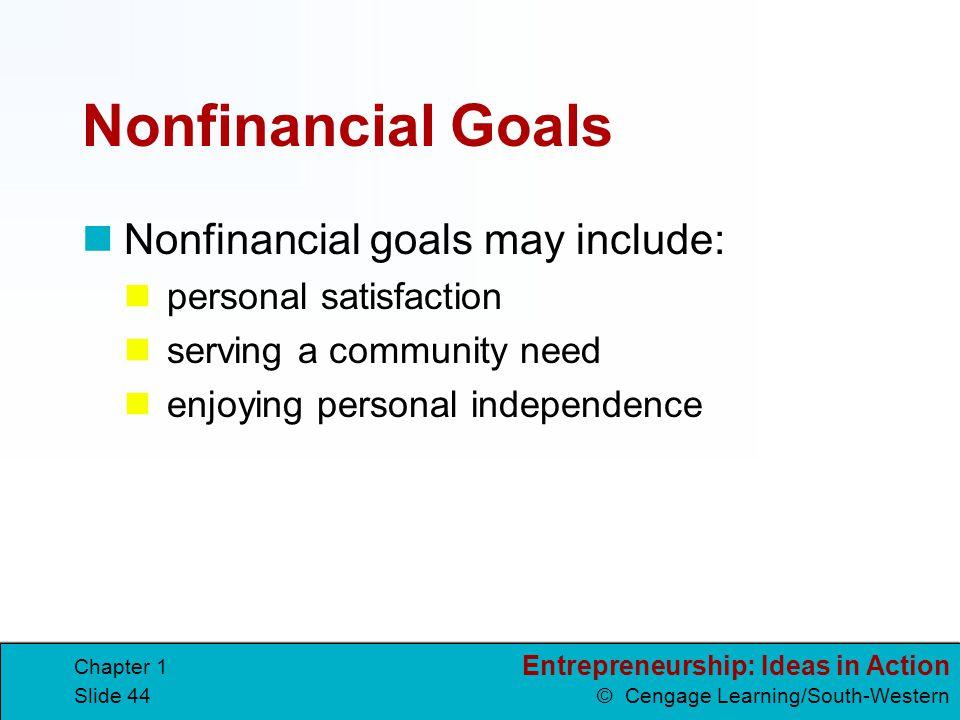 Nonfinancial Goals Nonfinancial goals may include: