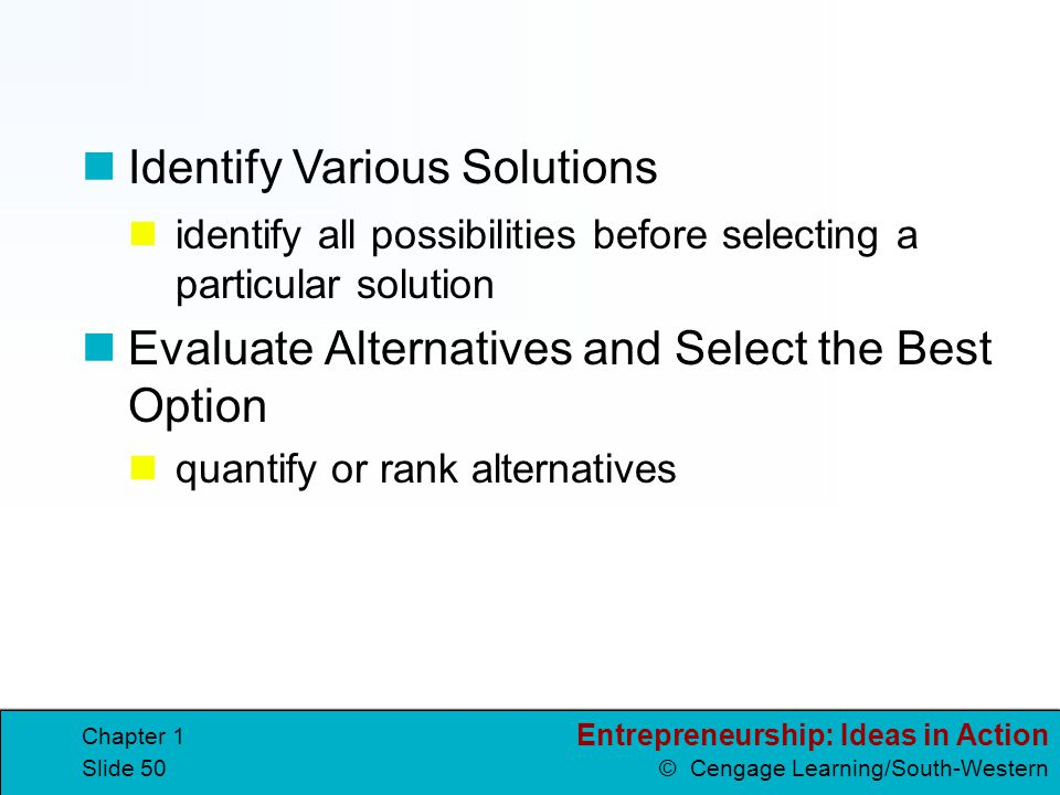 Identify Various Solutions