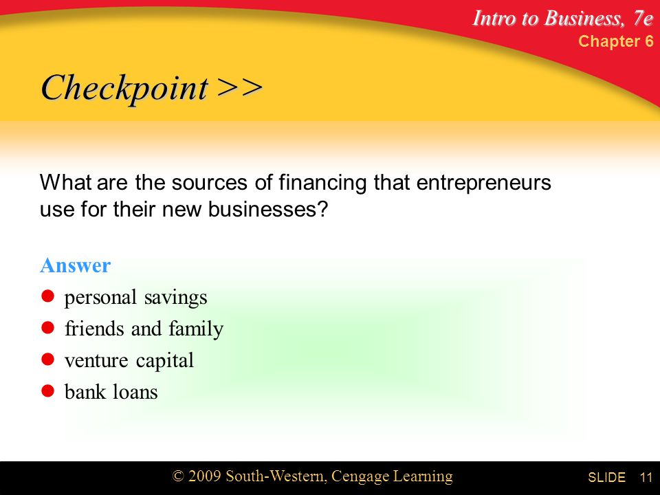 Chapter 6 Checkpoint >> What are the sources of financing that entrepreneurs use for their new businesses