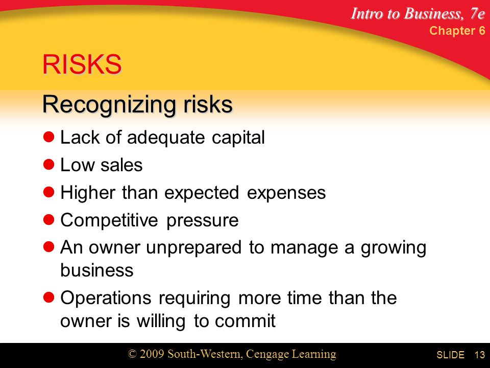 RISKS Recognizing risks Lack of adequate capital Low sales