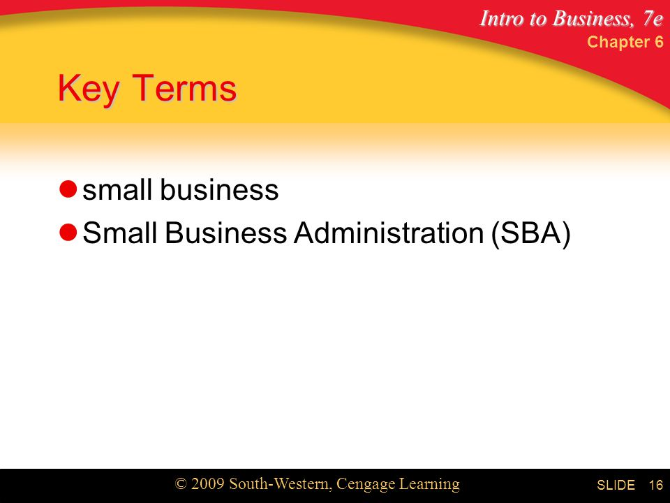 Chapter 6 Key Terms small business Small Business Administration (SBA)