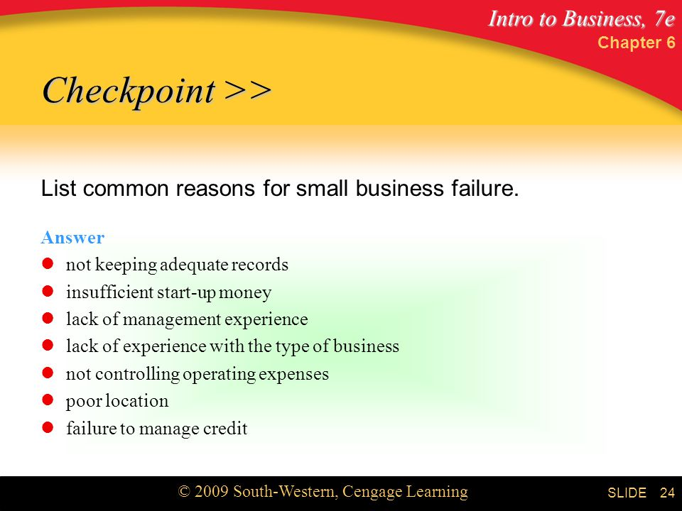 Checkpoint >> List common reasons for small business failure.