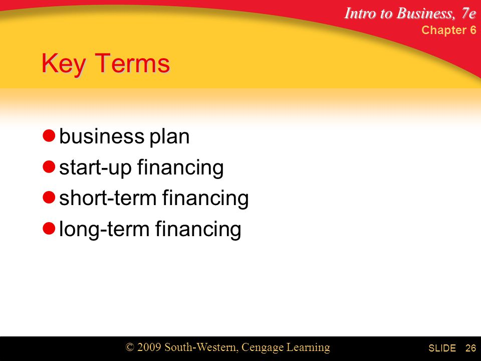 Key Terms business plan start-up financing short-term financing