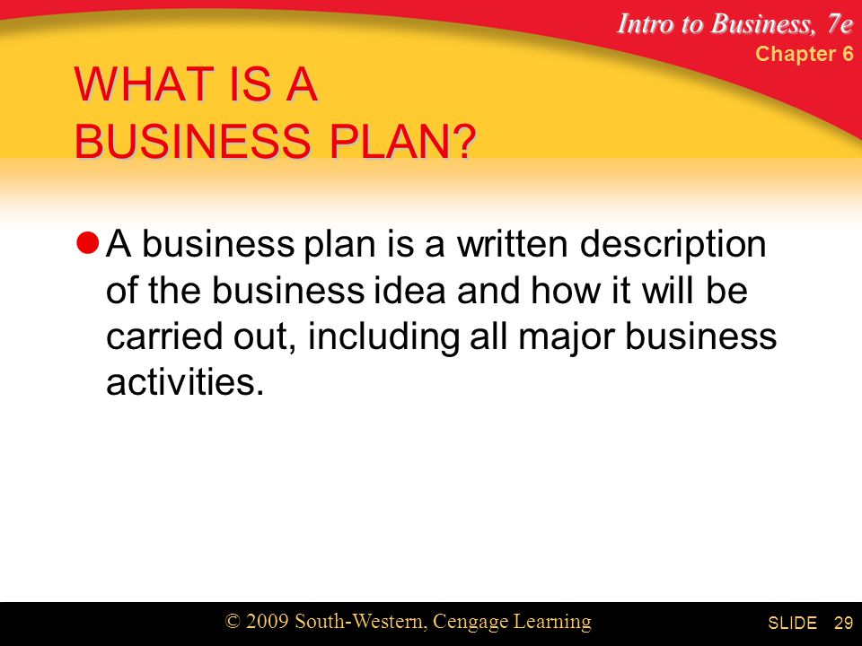 Chapter 6 WHAT IS A BUSINESS PLAN