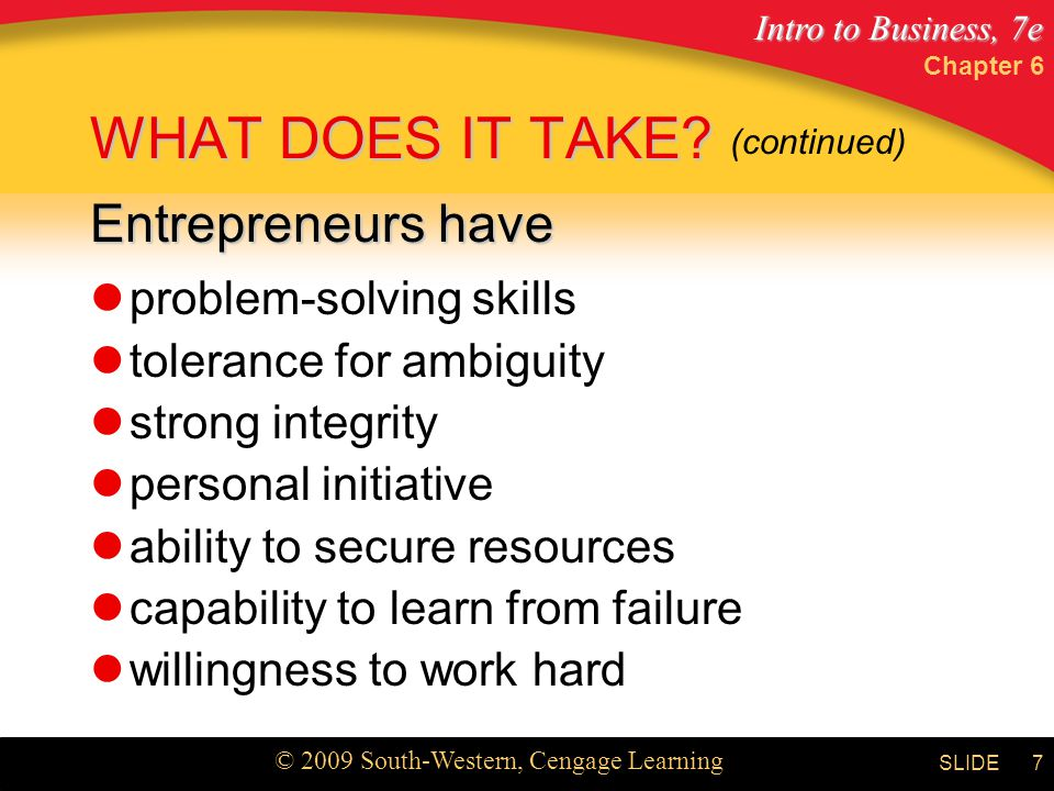 WHAT DOES IT TAKE Entrepreneurs have problem-solving skills