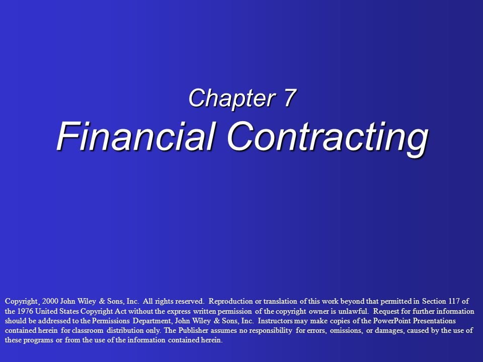Chapter 7 Financial Contracting