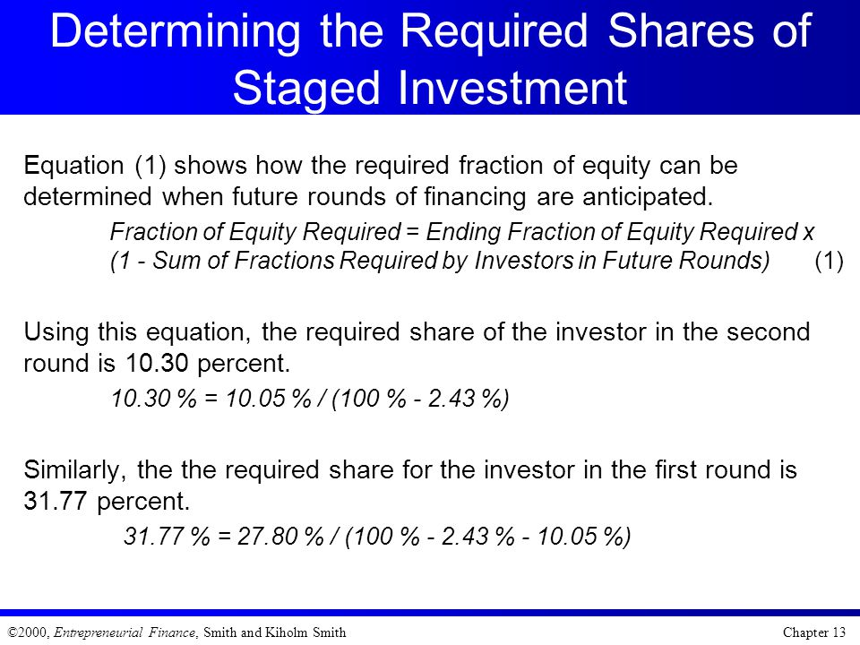 Determining the Required Shares of Staged Investment
