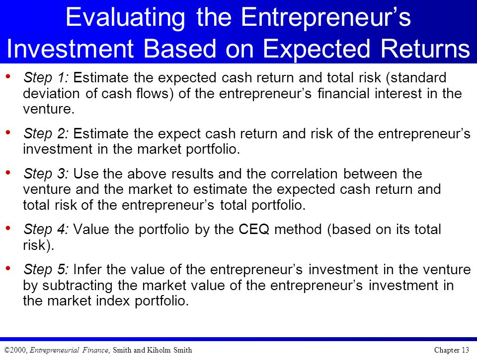 Evaluating the Entrepreneur's Investment Based on Expected Returns