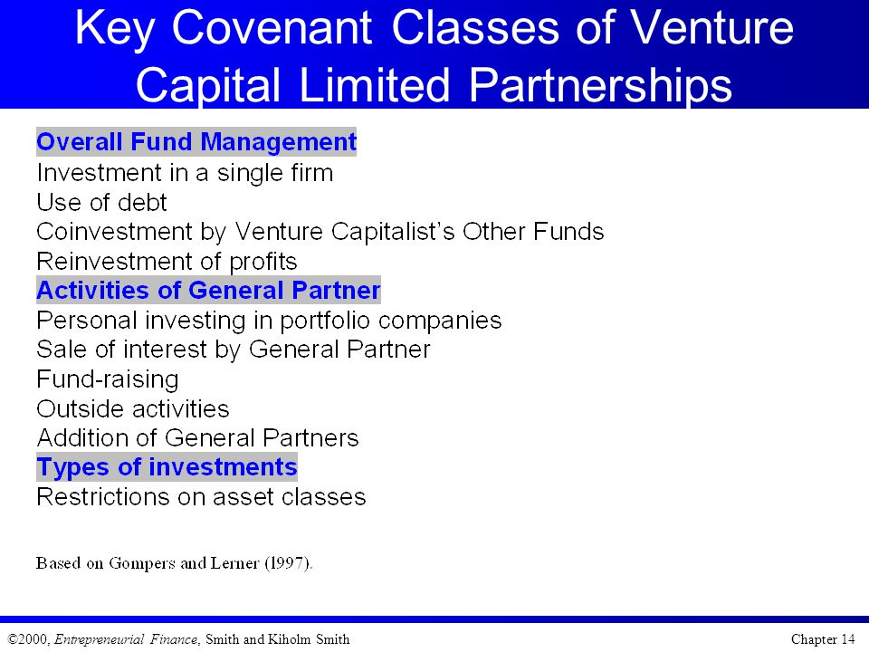 Key Covenant Classes of Venture Capital Limited Partnerships