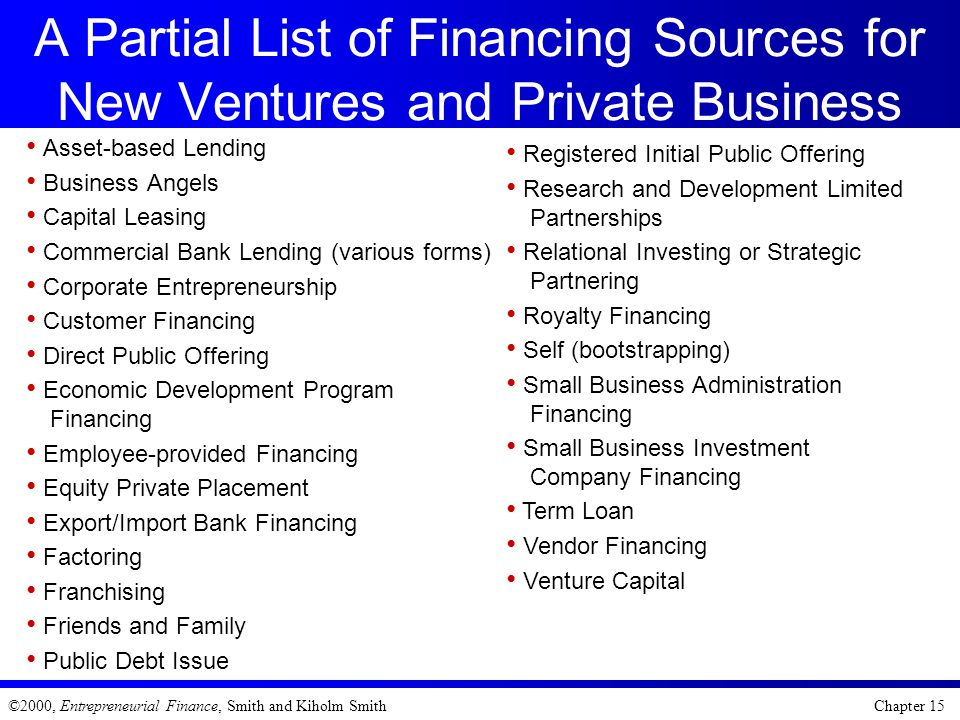 A Partial List of Financing Sources for New Ventures and Private Business