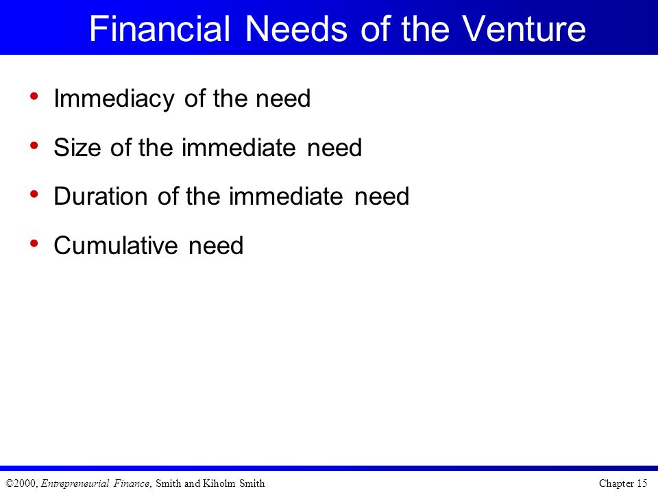 Financial Needs of the Venture