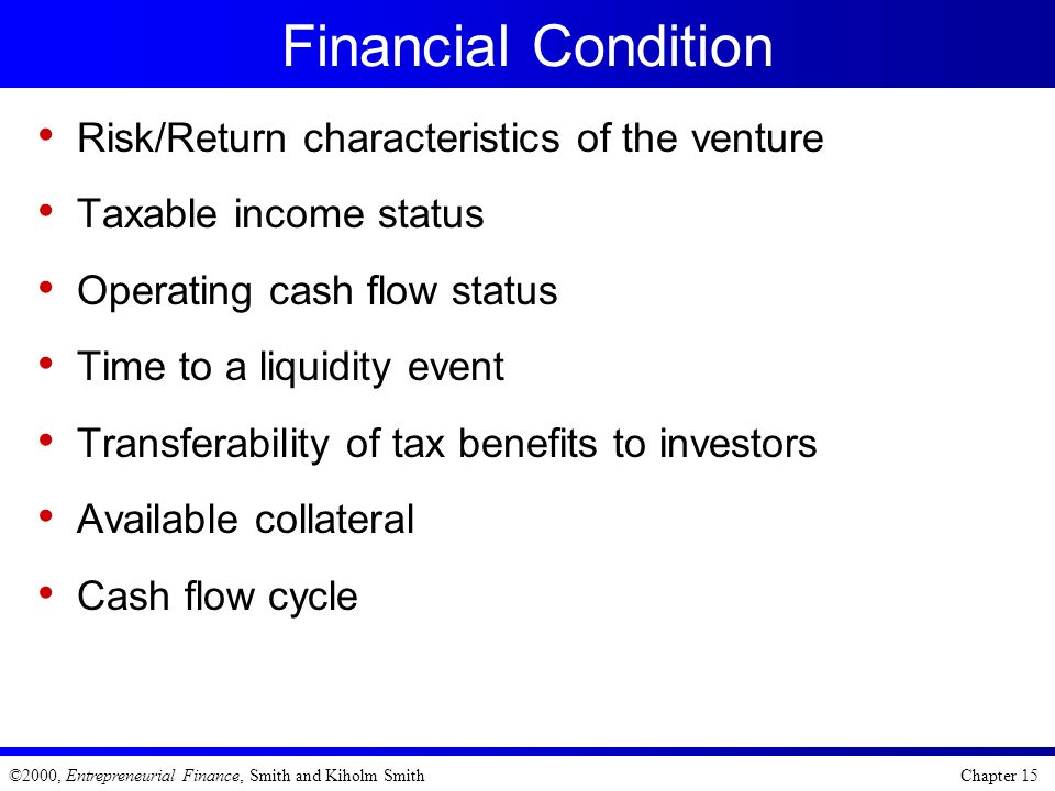 Financial Condition Risk/Return characteristics of the venture