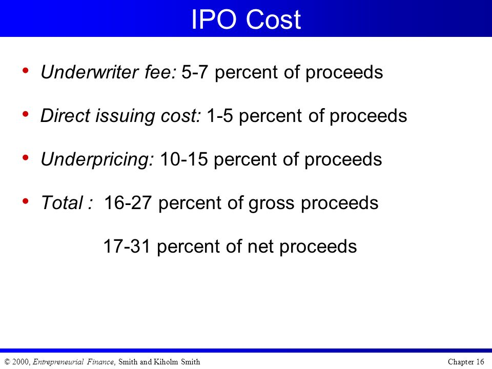 IPO Cost Underwriter fee: 5-7 percent of proceeds