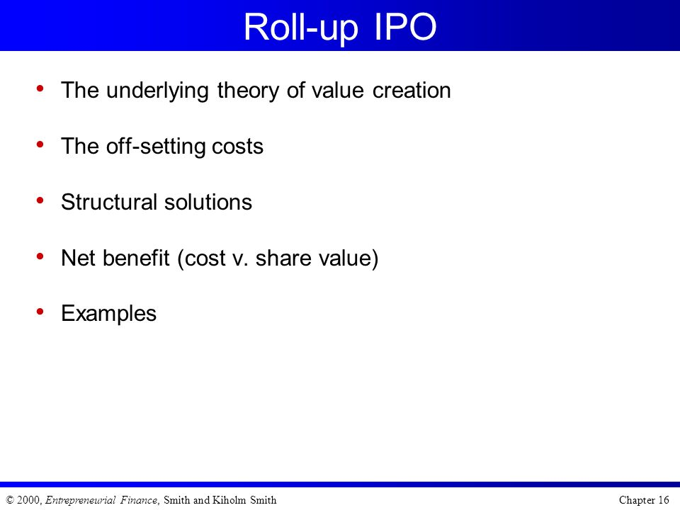 Roll-up IPO The underlying theory of value creation