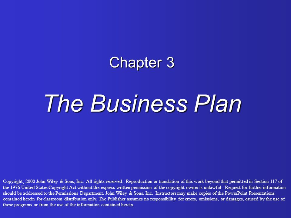 Chapter 3 The Business Plan