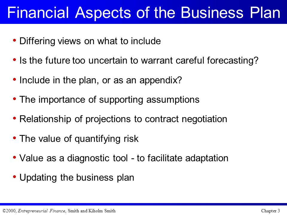 Financial Aspects of the Business Plan