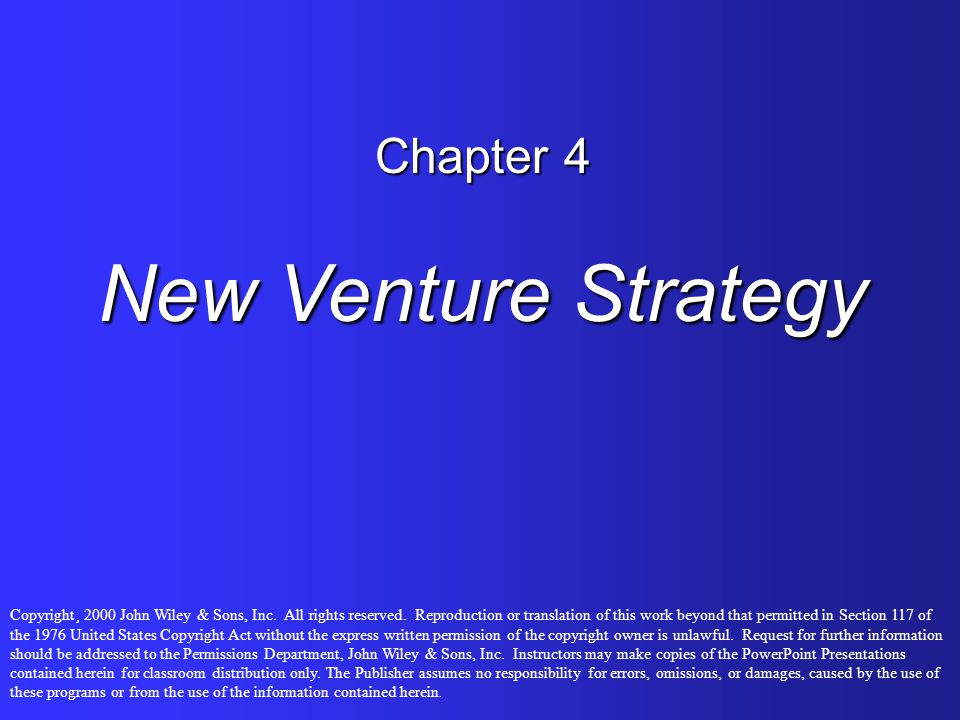 Chapter 4 New Venture Strategy