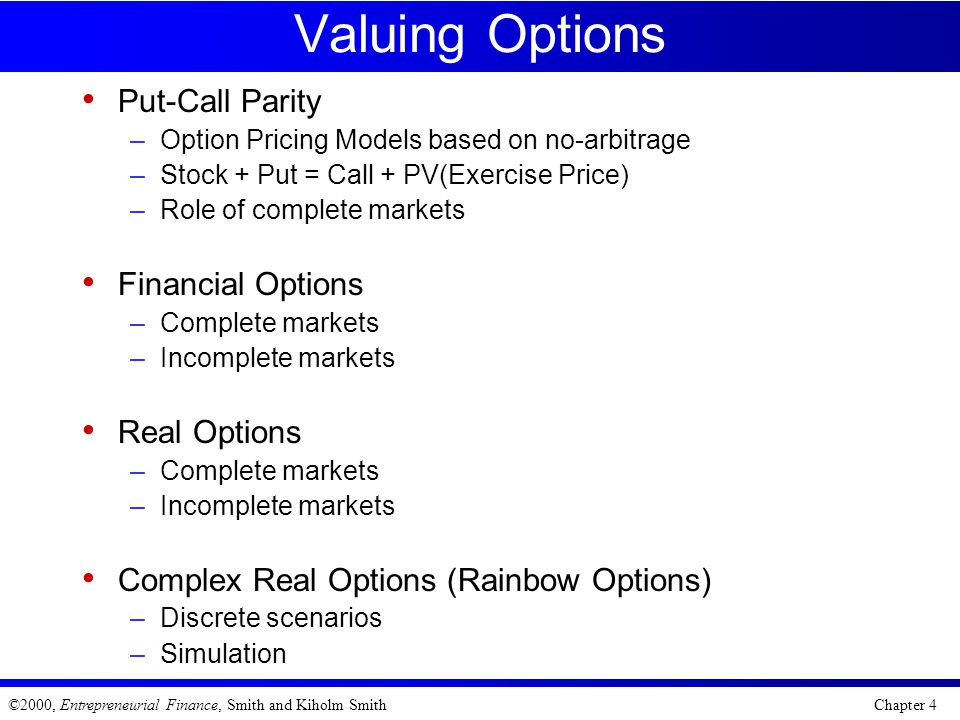 Valuing Options Put-Call Parity Financial Options Real Options