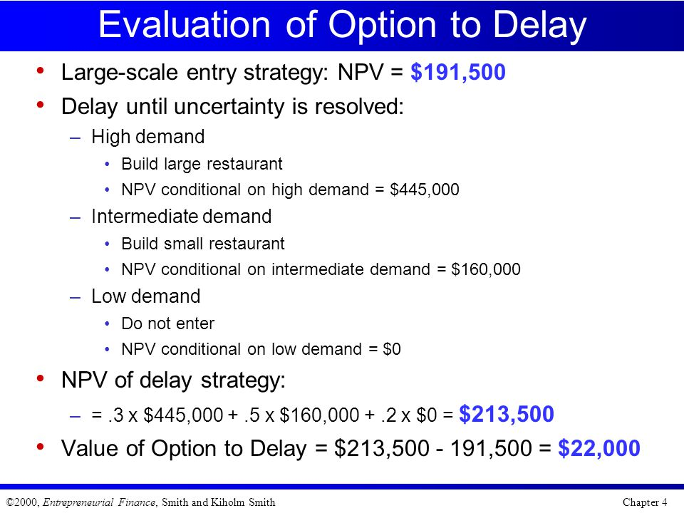 Evaluation of Option to Delay