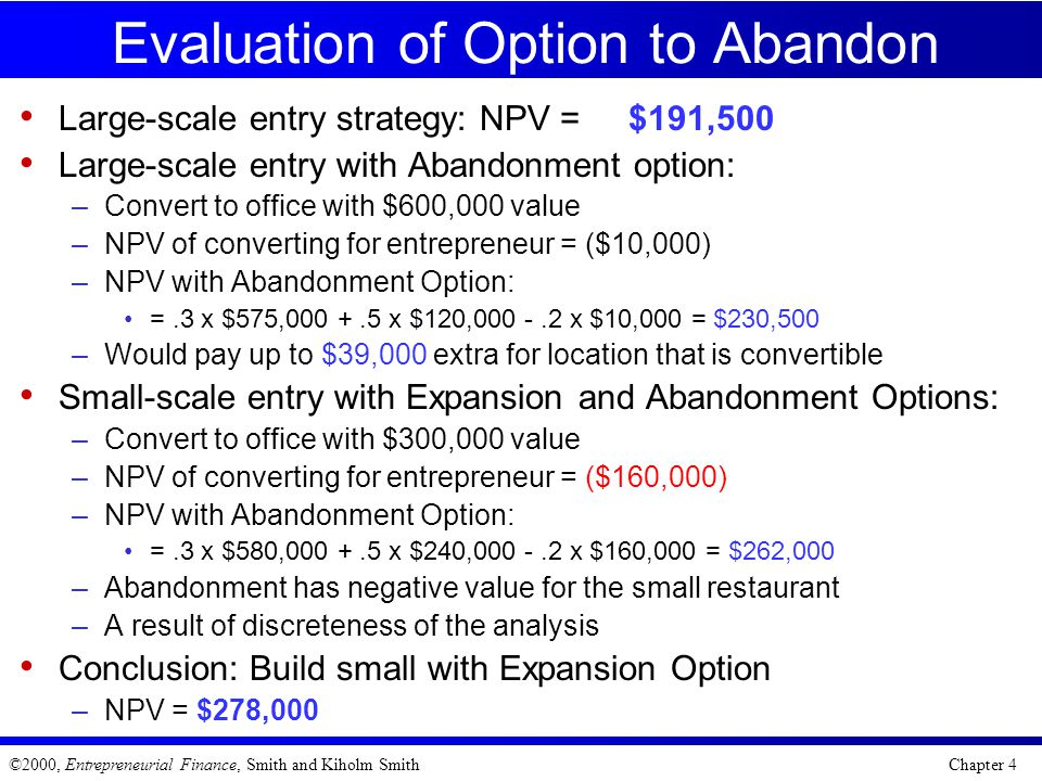 Evaluation of Option to Abandon