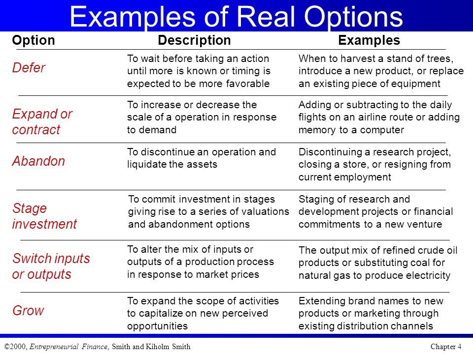 Examples of Real Options