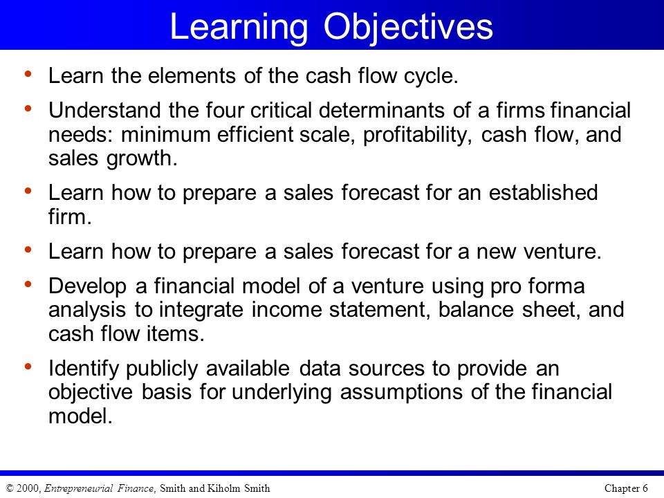 Learning Objectives Learn the elements of the cash flow cycle.