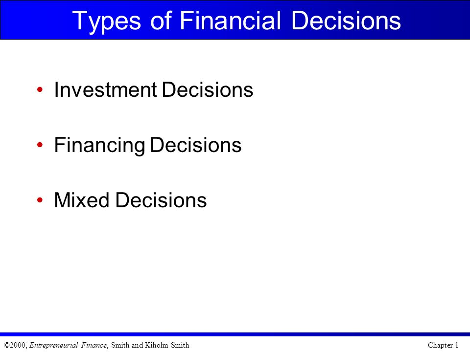 Types of Financial Decisions