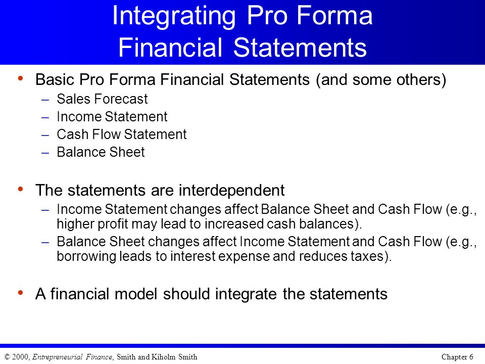 Integrating Pro Forma Financial Statements