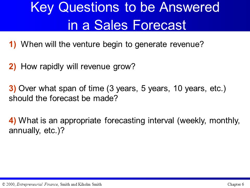 Key Questions to be Answered in a Sales Forecast