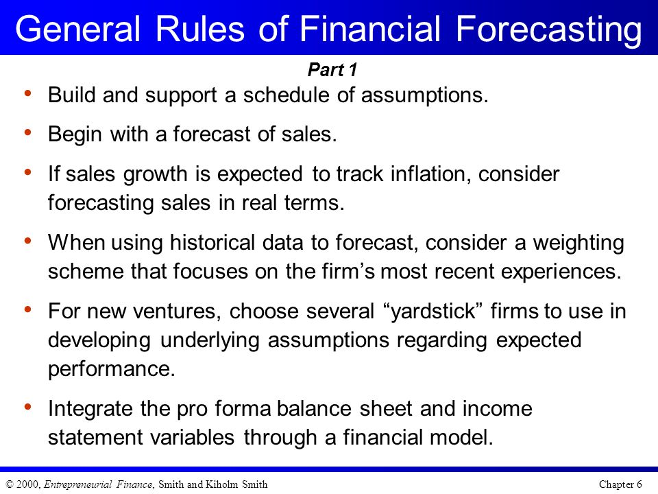 General Rules of Financial Forecasting