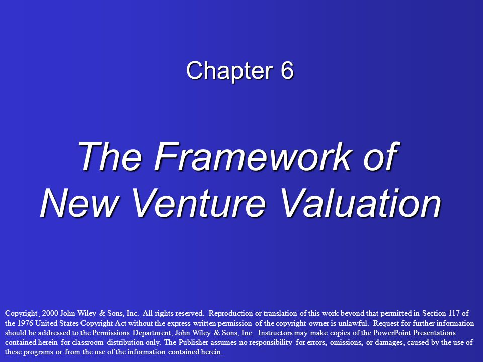The Framework of New Venture Valuation