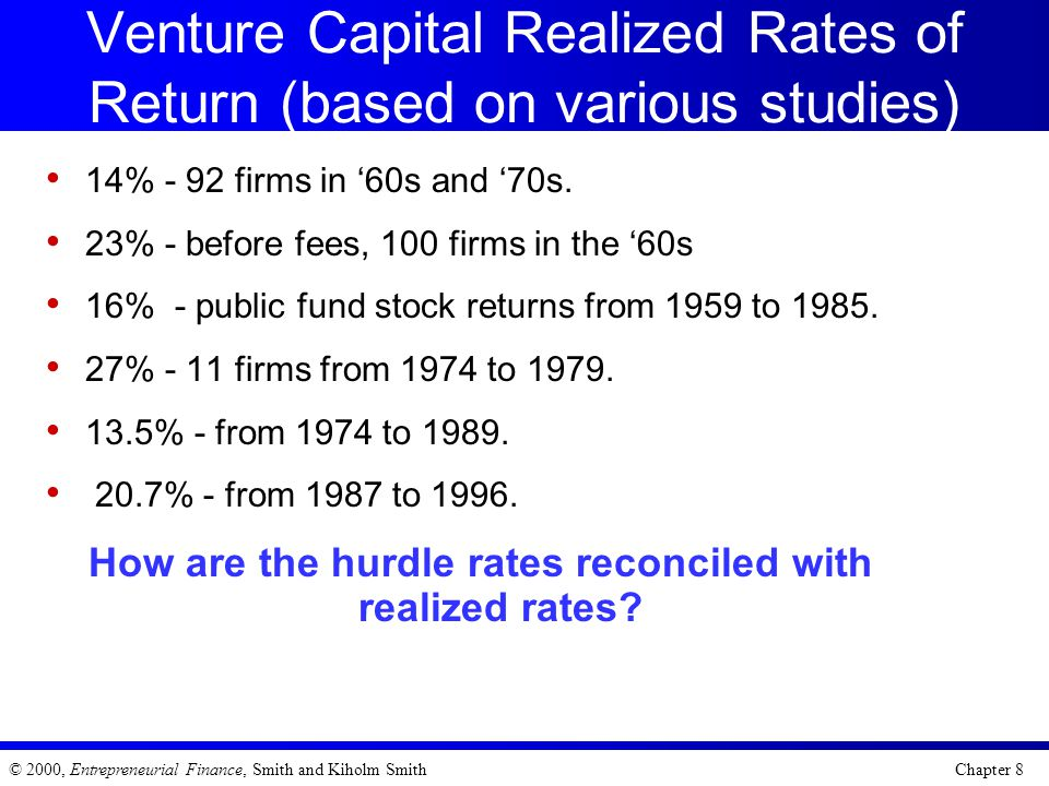 Venture Capital Realized Rates of Return (based on various studies)