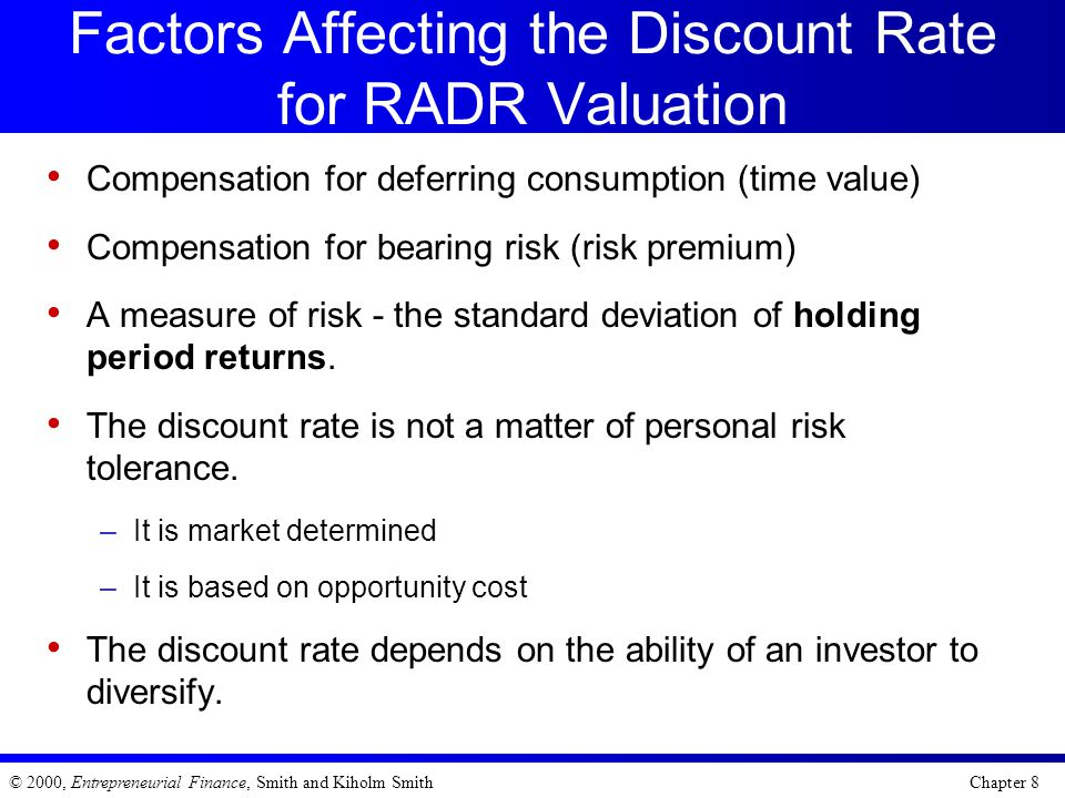 Factors Affecting the Discount Rate for RADR Valuation